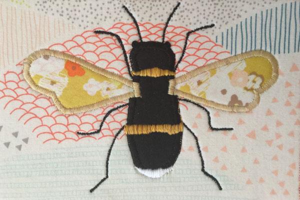 Bumble bee applique on a Fiber Art Card