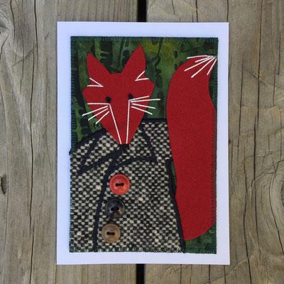Fox in wool coat Fiber Art Card