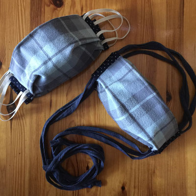 Blue Plaid Flannel/Cotton 2-Layer* Mask with choice of ear elastic or T-shirt cord