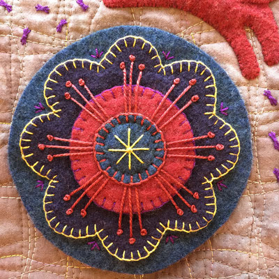 Embroidered medallion made with upcycled 100% wool felt in Pine Tree Studio