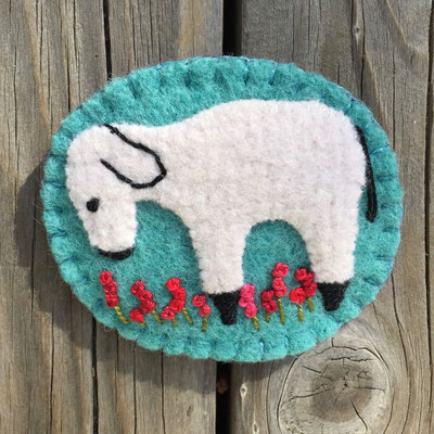 Sheep pin brooch with turquoise background