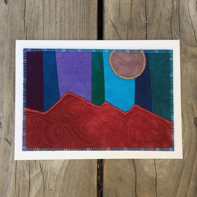 Moon over Mountains Fiber Art Card