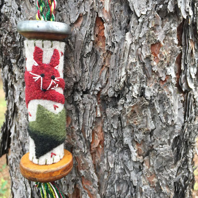 Fox textile bobbin ornament - embroidered up cycled wool felt on a vintage textile bobbin