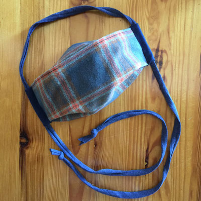 Smoky Blue Flannel washable cotton 2-Layer* 3D face mask with cotton T-shirt cord