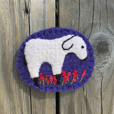Sheep pin brooch with purple background