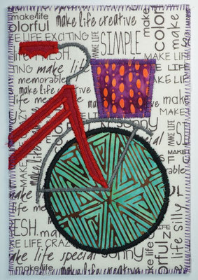 Bicycle Fiber art card design