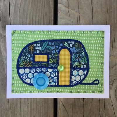 Camper green background Fiber Art Card