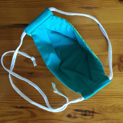 Teal Butterfly washable cotton 3-Layer 3D face mask with cotton T-shirt cord