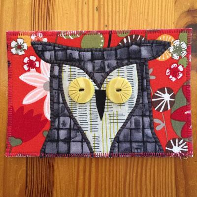 Owl red background  Fiber Art Card