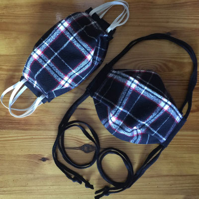 Black Plaid Flannel/Cotton 2-Layer* Mask with choice of ear elastic or T-shirt cord