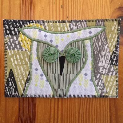 Owl grey yellow background Fiber Art Card