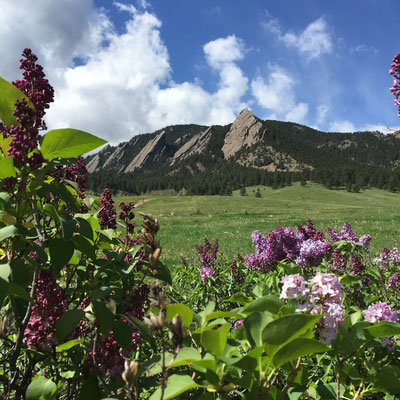 The iconic Flatirons of Boulder seen from the entrance to Chautauqua Park, Photo credit: Amy Mundinger, 2016