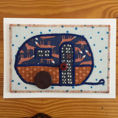 Camper fox with polka dot background Fiber Art Card