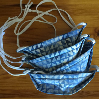 Blue & white geometric washable cotton 3-Layer 3D face mask with cotton T-shirt cord