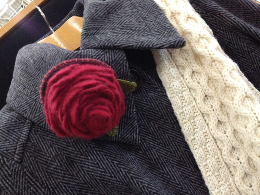 Felted Rose made with 100% upcycled wool sweaters by Pine Tree Studio