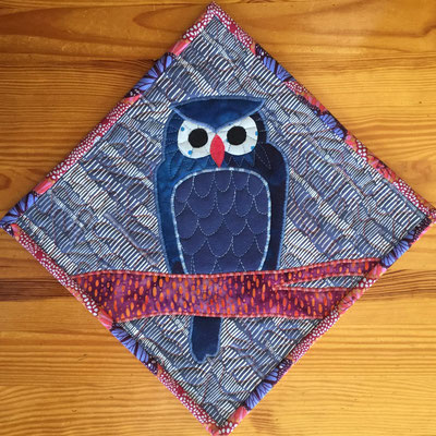 Owl - Blue Forest Potholder/Mini-Quilt