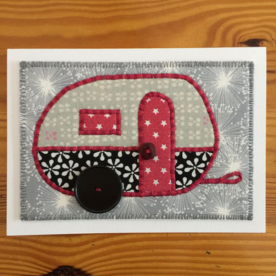 Camper red with silver background Fiber Art Card