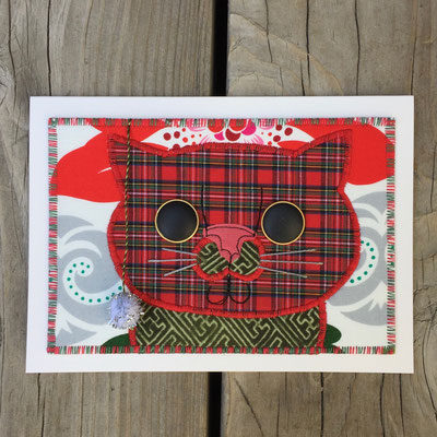 Christmas Cat with pom pom Fiber Art Card