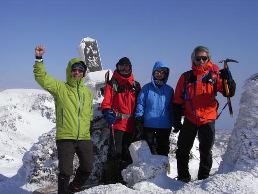 安達太良山、乳首頂上にて、