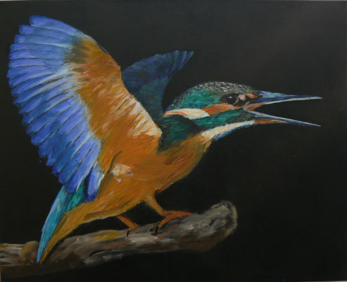 Eisvogel 2 , 2014-15 , 100x80 , Acryl auf Leinwand