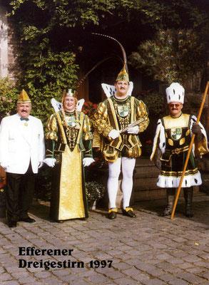 Dreigestirn 1997 mit Prinzenführer Ernst Münsch