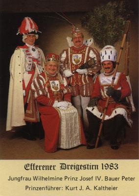 Prinzenführer J. A. Kaltheier, Jungfrau Wilhelmine (Willi Müller), Prinz Josef IV (Josef Kleefisch), Bauer Peter (Peter Buscher)