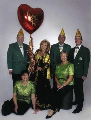 Prinzessin Birgit I mit mit Prinzenführer Werner Schardt, Alfred Schwickert, Adjudant Andreas Schwickert und den Hofdamen Susanne Fick und Gertrud Unnau