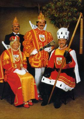Jungfrau Jakobine (Jakob Keet), Prinzenführer Wilbert Schneider, Prinz Peter VI (Buscher), Bauer Bernd (Foullong)