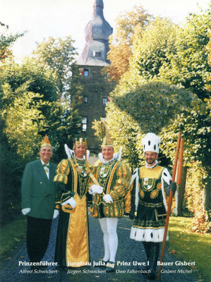 Prinzenführer Alfred Schwickert, Jungfrau Julia (Jürgen Schwickert), Prinz Uwe I (Falkenbach), Bauer Gisbert (Michel),