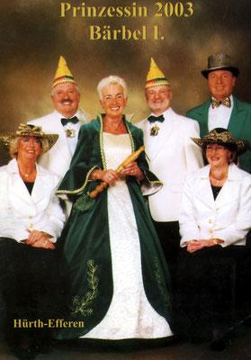 Prinzessin Bärbel I (Koch) mit Prinzenführer, Adjudantinnen und Fahnenträger