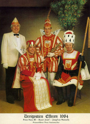 Prinzenführer Peter Assenmacher, Jungfrau Manuela (Manfred Herkenrath), Prinz Hans III (Eckstein), Bauer Josef (Neugebauer)