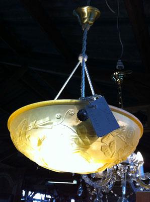 supension verre moulé jaune