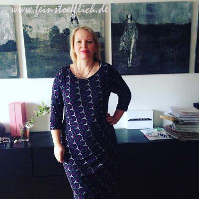 4. Mai Kleid mit seitlicher Raffung und gedoppeltem Vorderteil aus der Fashionstyle 08/2015, genäht im letzten Dänemarkurlaub, Stoff Alfatex