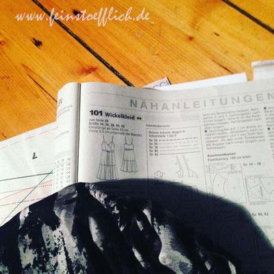 Schnittzeichnung und Vskosejersey Burda Modell 101 7/2016