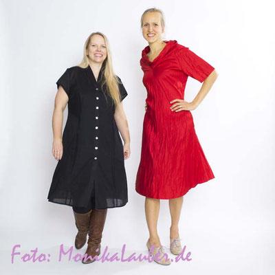 Hier mit Christiane von denmanto.de im Knitter- und Kimonokleid