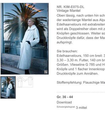 Mantel KIM aus der Vintage Burda, Quelle: Screenshot Burdastyle.de