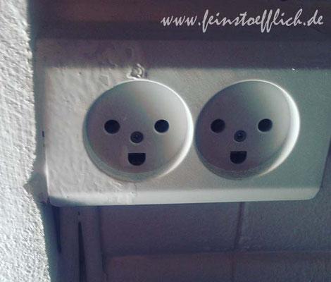Die Steckdosen haben Gesichter. Das hat mir jeden Morgen gleich gute Laune gemacht!