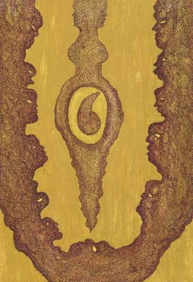 Baking bread, ink on cardboard, 36 x 25 cm, 2008