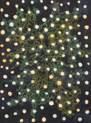 je dunkler die Nacht, desto heller leuchten die Sterne, watercolour on handmade paper, 23 x 31 cm, 2019