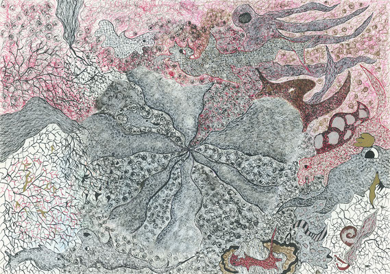 Whirlbeings, ink on paper, 29,7 x 42 cm, 2007