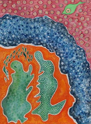 Conversation, watercolour on paper, 31x23cm, 2020