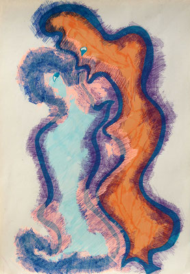 Two, romance, mixed media on paper, 30 x 21 cm, 2019