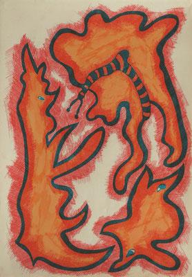 Three, both ways, mixed media on paper, 30 x 21 cm, 2019