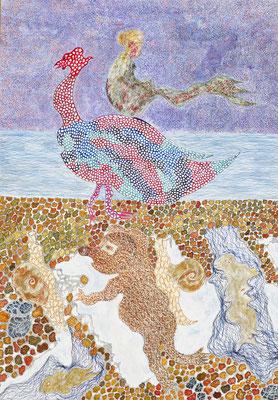 Mermaid on goose, ink on cardboard, 73 x 51 cm, 2007