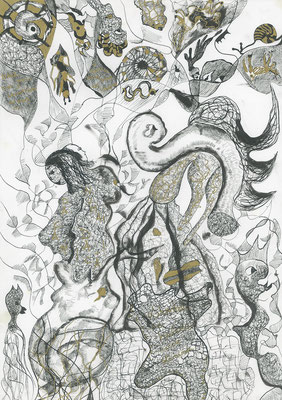 Feeding the dogs, ink on paper, 42,4 x 29,8 cm, 2007