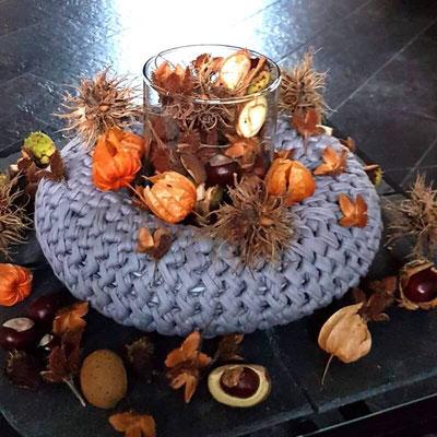 Kranz silbergrau gehäkelt Herbstfrüchte. Danke Schwester-♥️😚