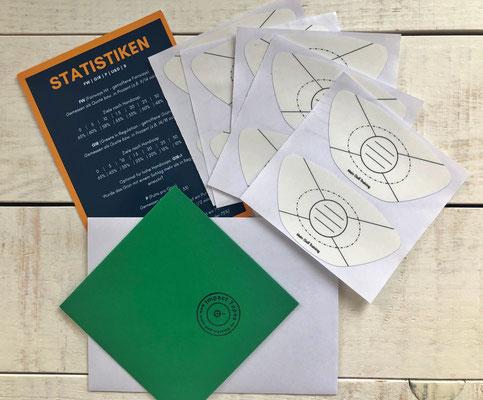 Lieferumfang der Impact Tapes (20 oder 40 Aufkleber): Briefumschlag mit den Stickern, Statistik-Flyer, verschickt als Briefpost im zweiten Umschlag.