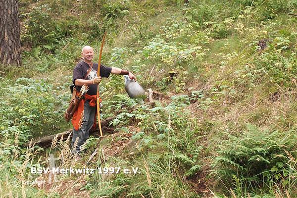 Gert's 70 m beim 3D Schiessen, Training auf dem Bogenparcours in Bad Belzig