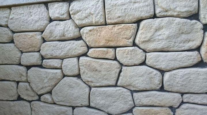 Façon pierre sèche blanc orangé