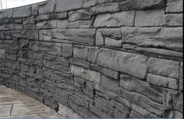 Imitation pierre de parement sur clôture de piscine
